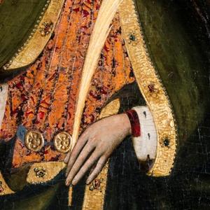 Detalle de la palma de martirio de Santa Tecla. Pintura sobre tabla, realizada por Tomás Giner en el siglo XV.
