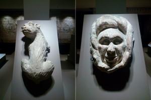 Figuras medievales de piedra descubiertas en la restauración del palacio arzobispal.