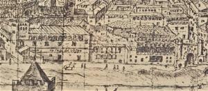Detalle de la vista de Zaragoza realizada por Antón van den Wyngaerde en 1563, conservada en la Biblioteca Nacional de Austria, en Viena.