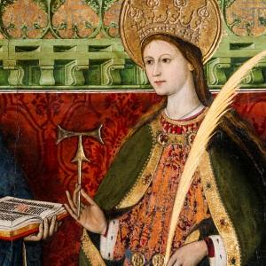 Detalle de la tabla gótica pintada por Tomás Giner, para decorar el retablo de la capilla del siglo XV del palacio arzobispal.
