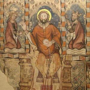 Detalle de Sibila y Pedro IV recibiendo la comunión de manos de Cristo, pertenecientes a un mural del siglo XIV de la Iglesia de San Miguel de Daroca. Esta decoración mural se preserva en el Museo Provincial de Zaragoza.