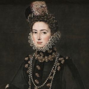 """""""Catalina Micaela de Austria, duquesa de Saboya"""" (detalle), realizado ente 1584 y 1585 por Alonso Sánchez Coello. Se conserva en el Museo del Prado."""
