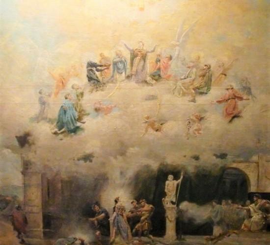 Detalle del boceto para la obra pintada en el crucero del templo de Santa Engracia, realizada por José Pallarés en 1896. Se conserva en el Alma Mater Museum.