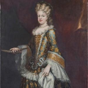 Detalle del cuadro de María Luisa Gabriela de Saboya, pintado por Juan García de Miranda en el primer cuarto del siglo XIII. Se conserva en el Museo del Prado.