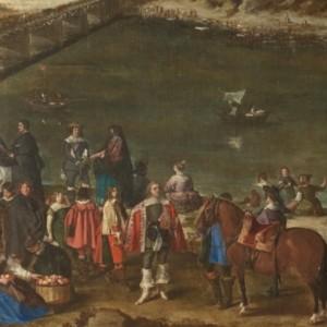 """Detalle del retrato de Baltasar Carlos en el cuadro """"Vista de Zaragoza"""", de Juan Bautista Martínez del Mazo."""