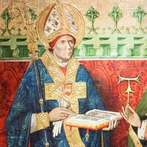 Detalle del rostro de San Martín. Se dice que es un retrato del arzobispo don Dalmau de Mur. Tabla reaizada en el siglo XV por Tomás Giner, conservada en el Alma Mater Museum.